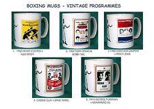 BOXING..RETRO BOXING PROGRAMME MUGS.5 DESIGNS.1960 - 1974.NEW.BNIB