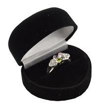 Luxury Velvet Heart Shaped Ring Boxes - Engagement Wedding Ring Box -Black/ Blue