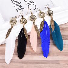 Women Bohemian Feather Tassel Pendant Ear Stud Drop Dangle Hook Earrings Jewe SW
