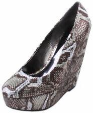Carlos by Carlos Santana Fate Womens Pewter Snake Print Wedge Heel Shoes