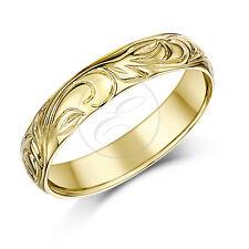 9ct Anillo Oro Amarillo Espiral Con Diseño Boda 4mm Banda