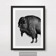 BUFFALO ART PRINT POSTER Animals Black White Grey Gray Pop Farm Cow Illustration