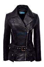 Boston Ladies New Black Casual Biker Hip Length Designer Italian Real Leather