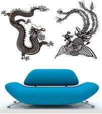 DRAGON AND PHENIX #2 Oriental Wall Stickers Decal Removable Art Vinyl Decor DIY