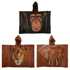 Kids Childrens Boys Girls Africa Animal Hooded Ponchos Monkey Elephant Lion New