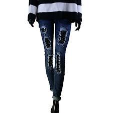 Jeans Donna Strappati Ricamati Pizzo Nero Strappi Aderenti Sexy Denim Pantaloni