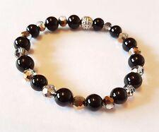 Black Onyx Gemstone Amore e guarigione Braccialetto con perline di cristallo elasticizzata