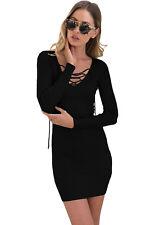 Black Long Sleeve Lace up V-Neck Knit Jumper Dress Casual Wear Size UK 10-12