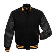 Black Wool Varsity Letterman Bomber Jacket Real Pure Leather Sleeves Yellow Rib