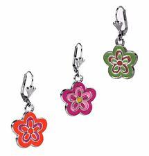 Flower Fashion Dangle Retro Enamel Silver Earrings Leverback Assorted Colors