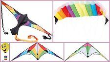 Aquilone Bambini Stunt Kite Rainbow Colorato Sterzo opaco Smiley Kite Flying Estate
