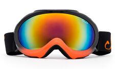 New Youth Ski Snowboard Goggles Kids Black Orange Dual Mirror Lens UV Protection