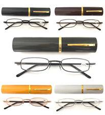 L292 Metal Frame Slim Reading Glasses/Spring Hinges+Aluminum Alloy Pen Tube Case
