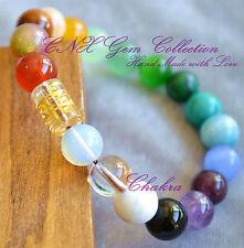 Gemstone Natural Crystal Chakra Clear Mantra Bead Om Shanti Buddhism Bracelet