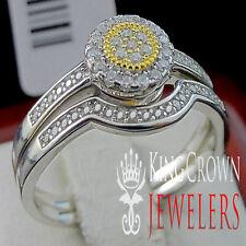 2 Tone White Gold Sterling Silver Ladies 2 Piece Bridal Wedding Ring Band Set