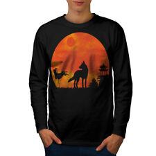Wolf Luna Naturaleza Animal Hombre Manga Larga wellcoda Camiseta Nuevo  