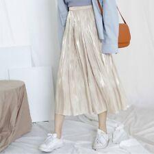 Women Silky Pleated Skirt Midi Flared Swing Dress Shiny High Waist A-line