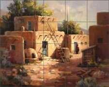 Village Tile Backsplash Ceramic Mural Johnston Southwest Pueblo Art RW-MJA010