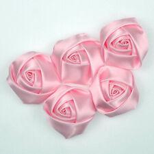 40mm Pink Satin Rose Buds Diy Sewing Craft Ribbon Flower Wedding Applique Decor