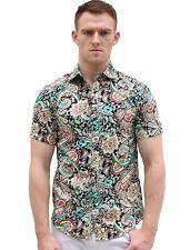 Men Slim Fit Floral Print Short Sleeve Button Down Beach Hawaiian Shirt