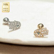 14K REAL Solid Gold Hamsa CZ Stud Helix Tragus Cartilage Earring Piercing 18G