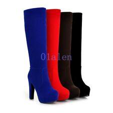 Women's Chic Faux Suede Platform Shoes Block High Heel Zip Up Knee Boots Solid