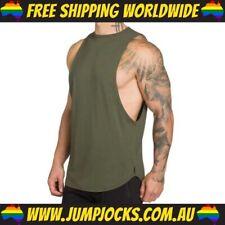 Green Sleeveless Long Top - Fitness, Gym, T-Shirt *FREE WORLDWIDE SHIPPING*