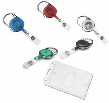 Retractable Key Pass Reel & Premium Enclosed ID Card Security Badge Holder PT