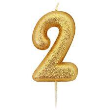 BRILLO DORADO Número 2 TWO 2 Feliz Cumpleaños Vela De Tarta Fiesta Aniversario