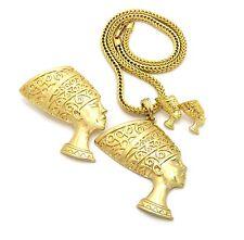 """Egypt Queen Nefertiti Pendant 18"""" Necklace, Brooch, Pierced Earring 3 Set RC2378"""