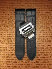23mm Black Leather Strap Watch Band Buckle Set Large Santos 100 XL 38mm X