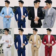 Men Slim Fit Suit Coat One Button Top Formal Business Work Coat Jacket Outwear