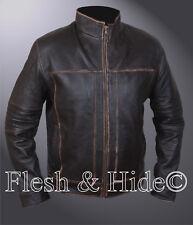 Genuine Cowhide Leather Vintage Finish Cafe Racer Biker Motorcycle Jacket