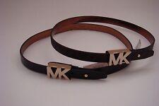 New Michael Kors MK Logo Narrow Belt * Black w/ Gold * Brown w/ Gold S M L XL