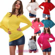 Maglia donna maglietta asimmetrica maniche pipistrello jersey blusa AS-0435 DD