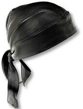 moto pelle morbida MOTOCICLISTA Fascia per capelli nero BANDANA TAPPO du-rag