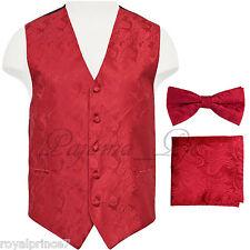 Red Paisley Vest Waistcoat & Bow tie Hanky Formal Wedding Prom Tuxedo Suit