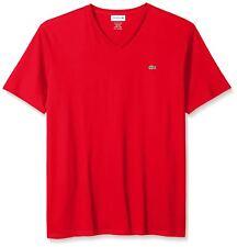 Lacoste Red Short Sleeve Pima Cotton V-Neck Jersey T-Shirt