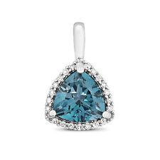 Topacio Azul y Diamante Colgante Oro Blanco Londres azul Tasación Certificado