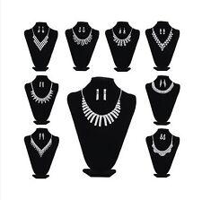 Jewelry Set Collier Necklace Earrings Wedding Rhinestone Silver Bride