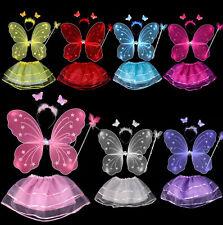 Juego de Disfraces 4tlg HADA MARIPOSA FALDA Ala Fairy Niñas Carnaval