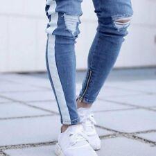 Mens Slim Ripped Jeans Side Stripes Zipper Denim Pants Skinny Trousers Blue New