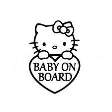 "6.5"" HELLO KITTY BABY ON BOARD Vinyl Decal Sticker Car Window Kawaii Cute Safety"