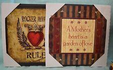 U Pick Plaque Rocker Mom Rule Mother's Heart Garden Love Gift Hang Heart Floral