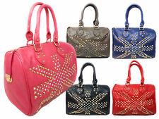 LYDC Designer Handbag Womens UK Flag Studded Top Handle Bowler Barrel Style Bag