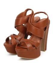 New Women Wild Diva Vixen-07 Leatherette Peep Toe Criss Cross Slingback Sandal