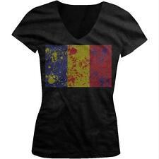 Romania Spatter Flag Rumania Mandrie Romanian Pride Juniors V-neck T-shirt