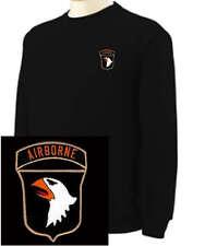 101st Airborne EMBROIDERED Black Sweatshirt New