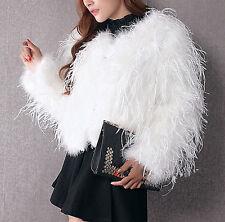 Women Real Ostrich Feather Long Fur Coat Jacket Tassels Bolero Bridal Parka Cape