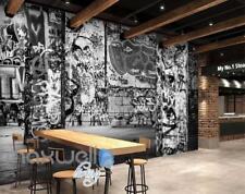 3D Graffiti Black White Letters Word Wall Murals Wallpaper Decals Prints Decor